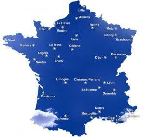 carte des grandes agglomérations françaises
