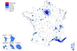 carte des zones de la loi pinel en France