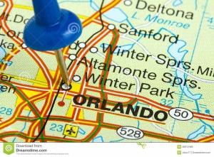carte de floride pointant sur la ville d'orlando