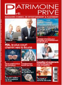 Magazine spécialisé Patrimoine prive. Couverture de decembre 2017. Dossier investir aux USA.